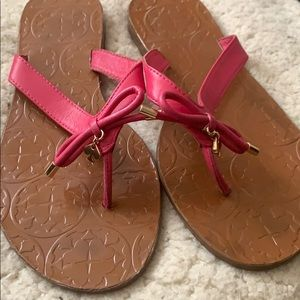 Kate Spade Pink Leather Flip Flops